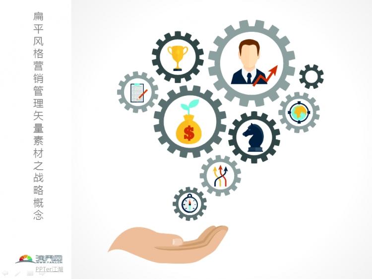 扁平风格营销管理矢量ppt素材之战略概念
